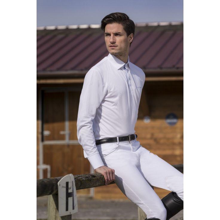 """Polo equitazione bambino Equi-thème modello """"Mesh"""" per monta inglese a maniche lunghe."""