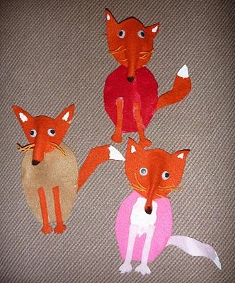 """This is a cute arts and crafts project that could be used for Roald Dahl's story """"Fantastic Mr. Fox.""""  These fox projects, along with a creative writing assignment, would make an eye-catching bulletin board display."""