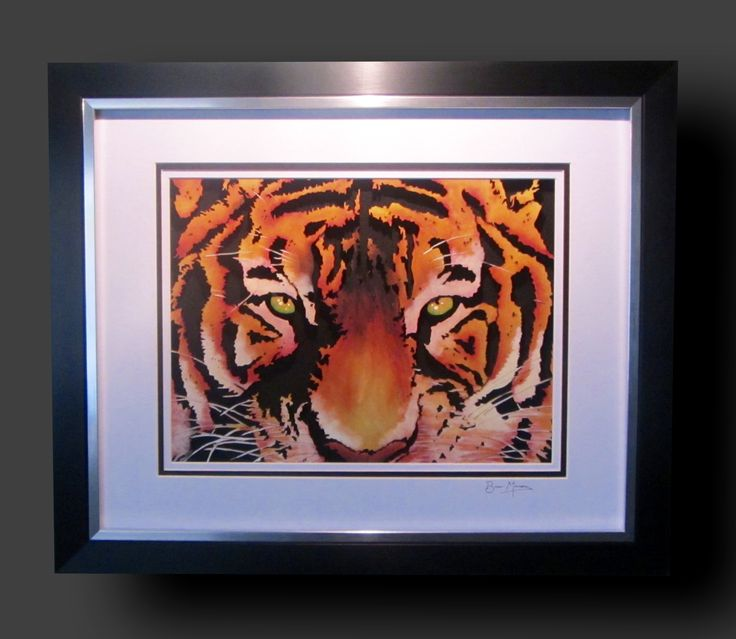 Tiger. Mixed media cut from Birch using a scrollsaw and finished using acrylics, Copic inks and pyrography.