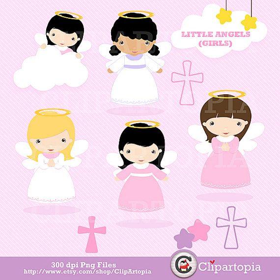 Angelistos Niñas digital clipart / Lindos angelitos clip art / bautizo angeles graficos para uso personal y comercial