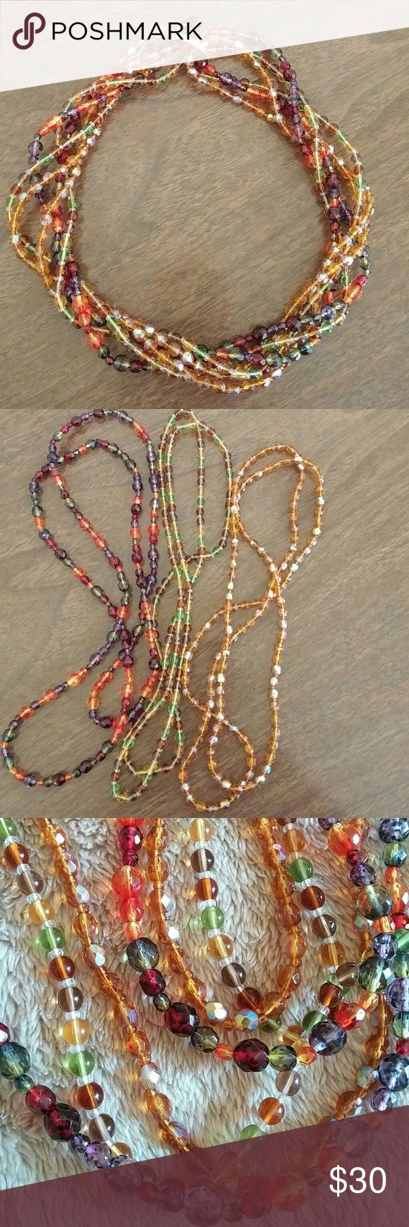 Gorgeous fall colors in 3 necklaces torsade