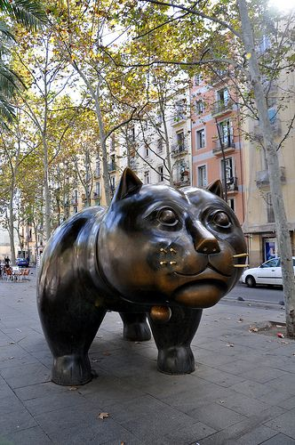 Botero's Cat, Rambla del Raval, Barcelona. http://www.suntransfers.com/barcelona-airport