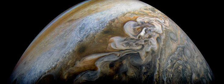 Jupiters Swirling Cloud Formations See swirling cloud formations in the northern area of Jupiter's north temperate belt in this new view taken by NASAs Juno spacecraft.