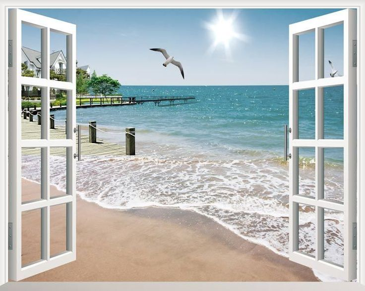 Sunshine Beach 3D Window View Removable Wall Art Stickers Vinyl Decal Home Decor
