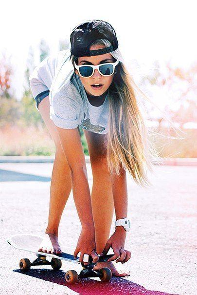 Skater Girl. dang i love this! =D glasses cap board