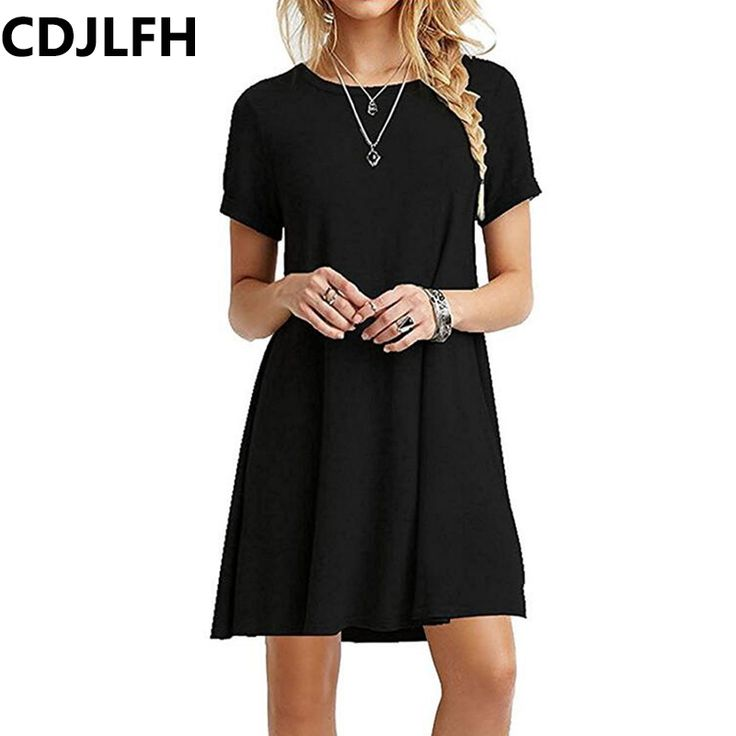 On Sale NOW $4.41 CDJLFH 2018 Ladies Casual Women translucent Short Sleeve Slim Dress Sexy Thin section Female Black Dresses Summer Party Dress