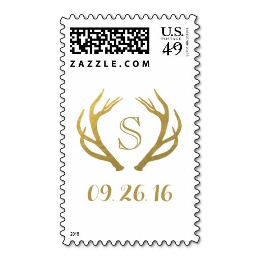 CHIC GOLD FOIL | RUSTIC ANTLER CUSTOM PERSONALIZED WEDDING POSTAGE STAMPS FOR INVITATIONS, RSVP, SAVE THE DATE, THANK YOU & ANNOUNCEMENT CARDS
