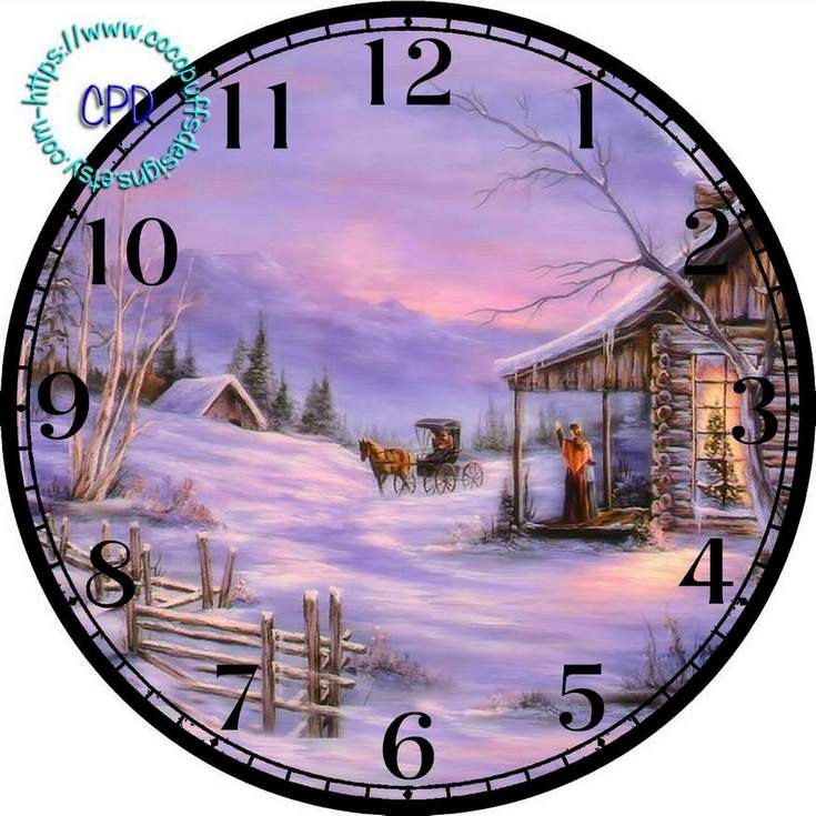 """Christmas Purple Night with Snow & a Log Cabin Art - -DIY Digital Collage - 12.5"""" DIA for 12"""" Clock Face Art - Crafts Projects by CocoPuffsDesigns on Etsy"""
