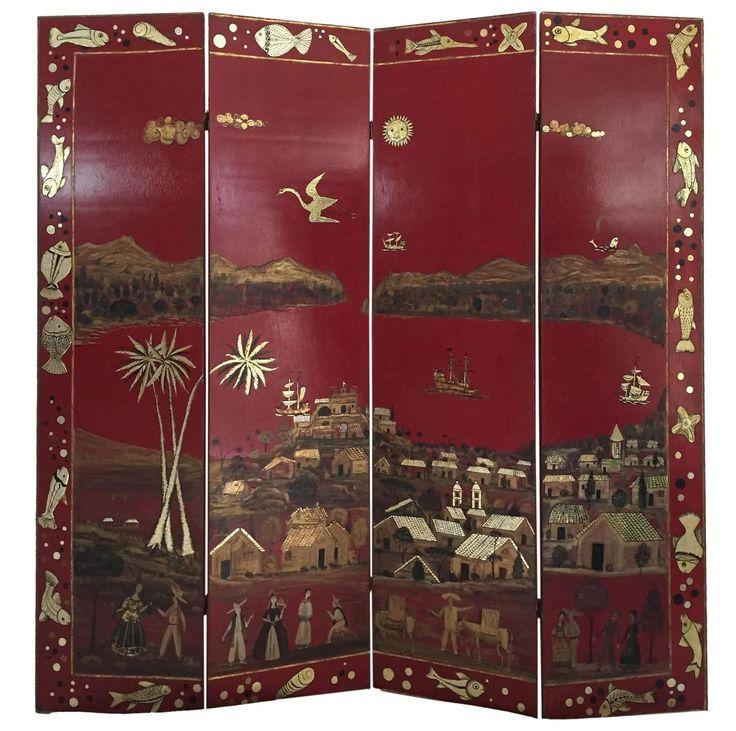 Rare Four Panel Floor Screen By Salvador Corona, Circa 1938 Of Vera Cruz,