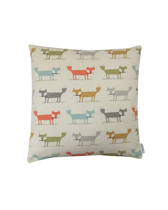 ORDERED Cushion cover Pillow case FOXY FOX design  Multicoloured Teal