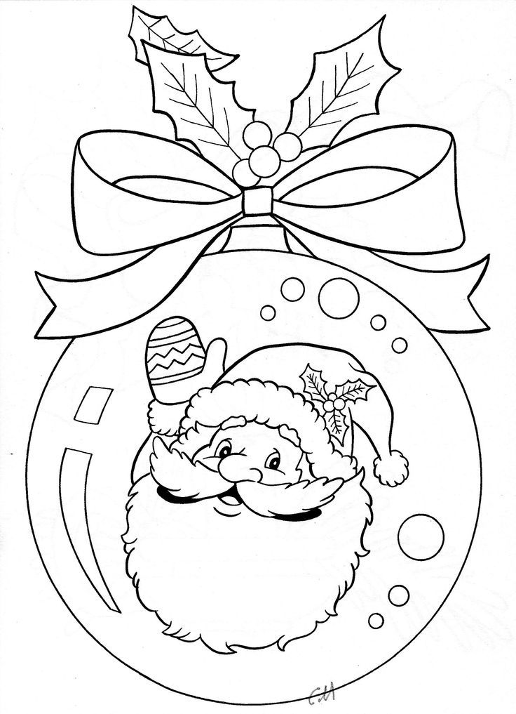 Santa ornament coloring page: