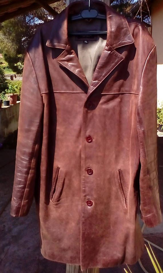 Mens Vintage Leather Skin Gear Trench Coat  Midi Leather