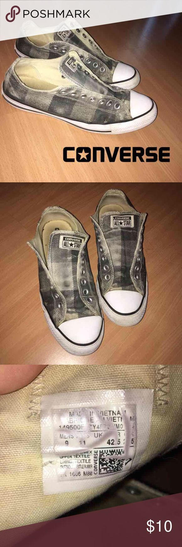 Men's converse Men's low top grey plaid converse no string. The color is fading but they're still great quality! Size 9 men women's 11 Converse Shoes Sneakers