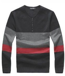 New Men's fashion sweaters fashion button decoration sweater men's casual long sleeved V neck sweater brand Man knitting sweater-inPullovers...