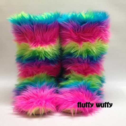 82d85d965283 Rainbow - Electric - Fluffy Wuffy Boots in 2019