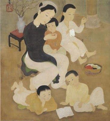 Painting on Silk by Vietnamese Artist Mai Trung Thu (1906-1980)