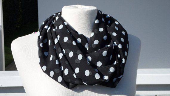 9e2325e5045c Snood écharpe tube tour de cou foulard  femme  noir et blanc pois  nouvelle