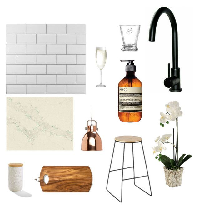 """kitchen"" by zoe-alexa-robinson on Polyvore featuring interior, interiors, interior design, home, home decor, interior decorating, Aesop, Hübsch, Crate and Barrel and kitchen"