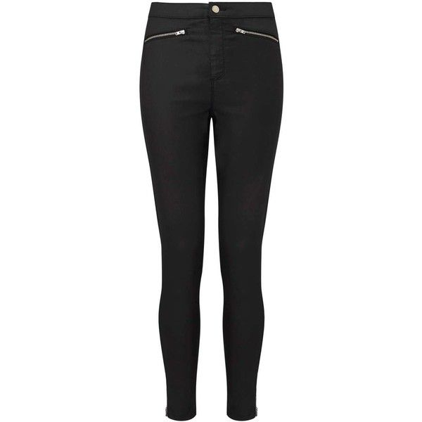Miss Selfridge STEFFI Super High Waist Black Coated Jeans ($55) ❤ liked on Polyvore featuring jeans, black, high rise skinny jeans, miss selfridge, miss selfridge jeans, highwaist jeans and high-waisted jeans