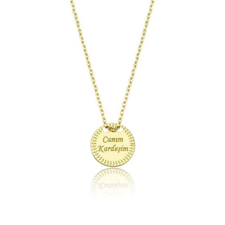 """Altın """"Canım Kardeşim"""" Kolye #altınbaşlife #kolye #altın #takı #tasarım #hediye #gift"""