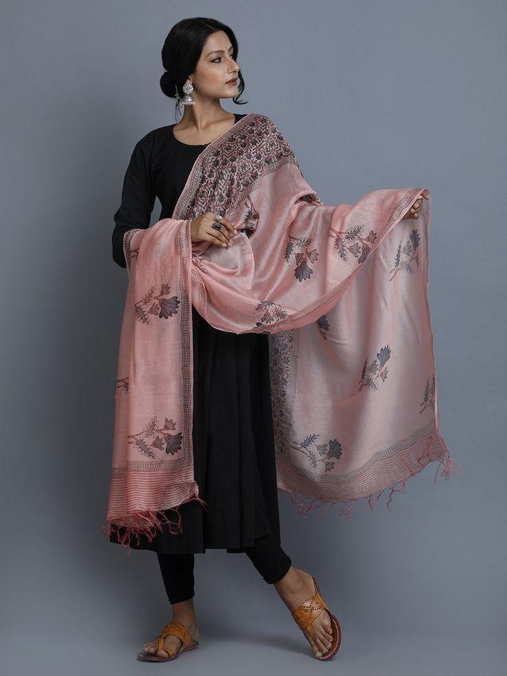 Old Rose Grey Hand Block Printed Chanderi Silk Dupatta