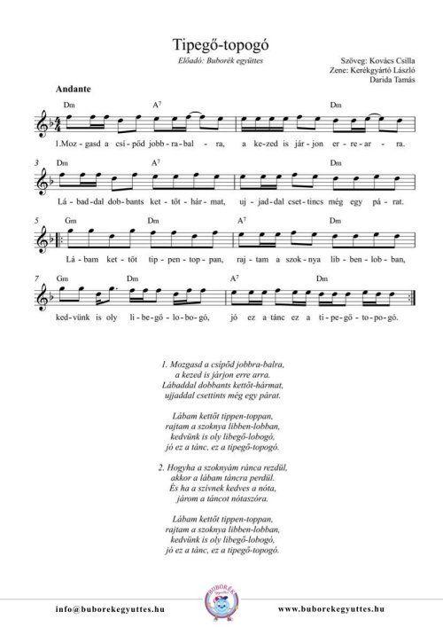 Buborék együttes: Tipegő-topogó gyermekdal - kotta és dalszöveg