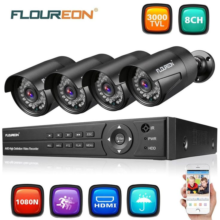 8CH 1080N AHD 3000TVL Indoor Outdoor CCTV Security Camera System IR Night Vision #Floureon