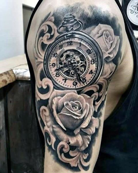 Flor de Rose con el reloj de bolsillo de filigrana media manga Guys Tattos