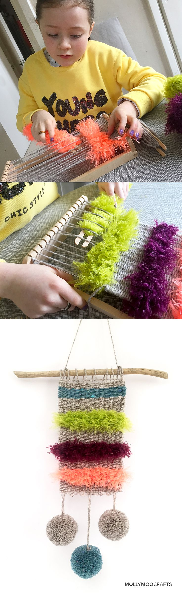 """I introduced Miss8 to weaving this weekend and what a hit!! """"this is easier than knitting mom, and way funner' // MollyMooCrafts.com"""