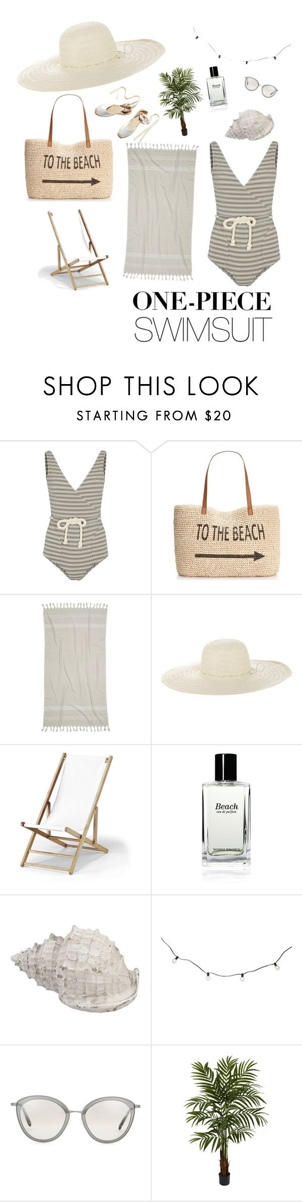 """""""One piece swimsuit --> omw beach"""" by thalyak ❤ liked on Polyvore featuring Lisa Marie Fernandez, Style & Co., IGH, Jennifer Ouellette, Telescope Casual, Bobbi Brown Cosmetics, Soludos, Oliver Peoples, Nearly Natural and onepieceswimsuit"""