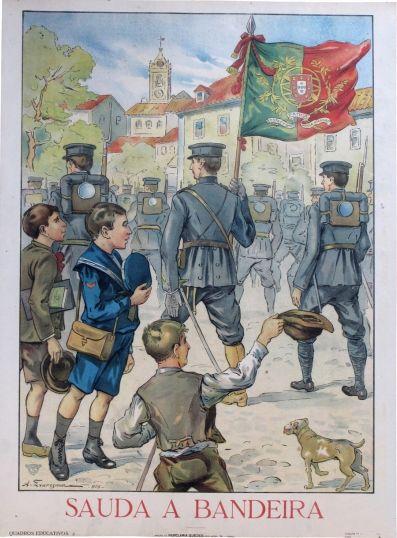 Saluting the Portuguese army flag - WW I