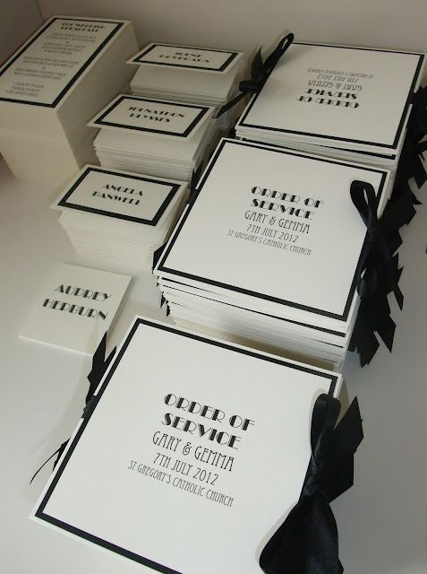 Art Deco inspired Reception Stationery & Order of Service www.knotsandkisses.co.uk