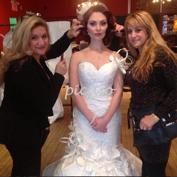 Behind-the-scenes: Bride & Groom Canada 2013 national edition cover shoot. Picaso Studios team in action. #Hair by Cathey and #makeup by Lucie. #bridal #bridalhair #bridalmakeup #weddinghair #weddingmakeup