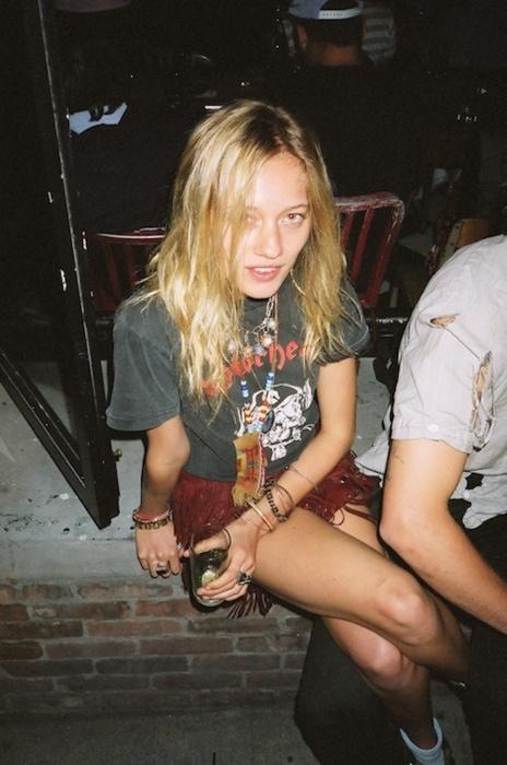 vintage motorhead shirt & messy hair.