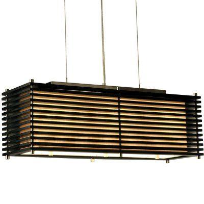 こちらは中国のデザインにインスピレーションを得た照明。スッキリとした長方形のフォルムを、黒い木材が直線的に飾っています。