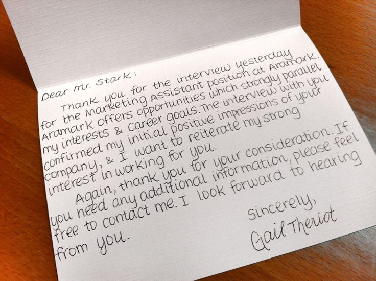Sample post-interview thank-you note