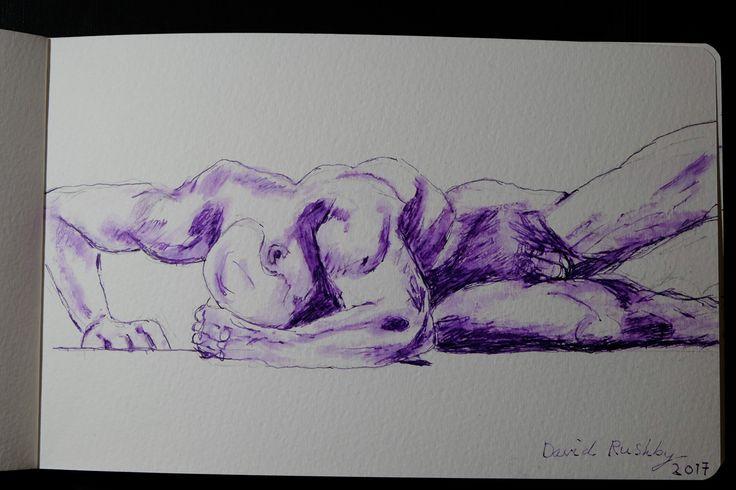 Nude Male Study. Fountain Pen Pelikan Violet Ink.