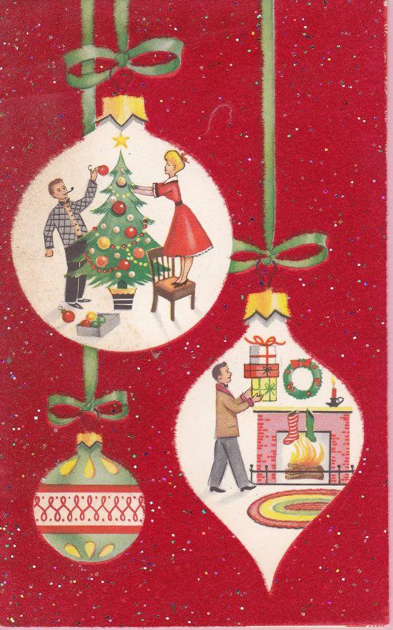 Esta es una cosecha tarjeta de Navidad de los últimos años 50 a los años 60 tempranos. El fondo rojo en la parte delantera está reunido y