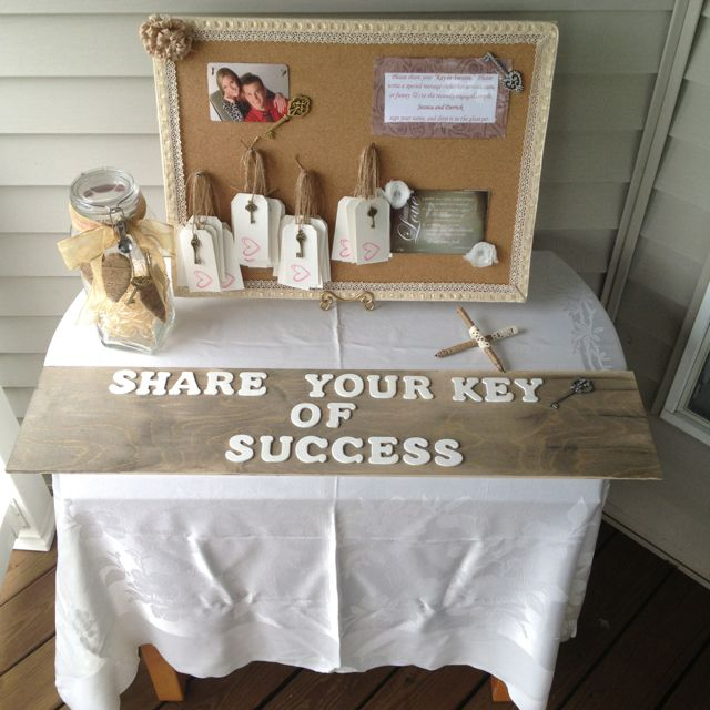 "Cute idea for a wedding/engagement party! Everyone writes a little ""key to success"" to the couple."