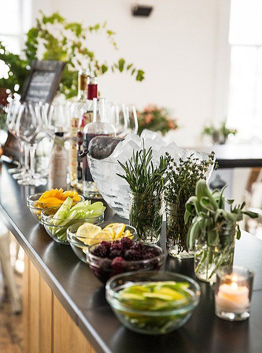 Fall entertaining tip: provide a variety of garnishes that guests can add to customize their cocktails, along with sliced lemons, oranges, and blackberries.