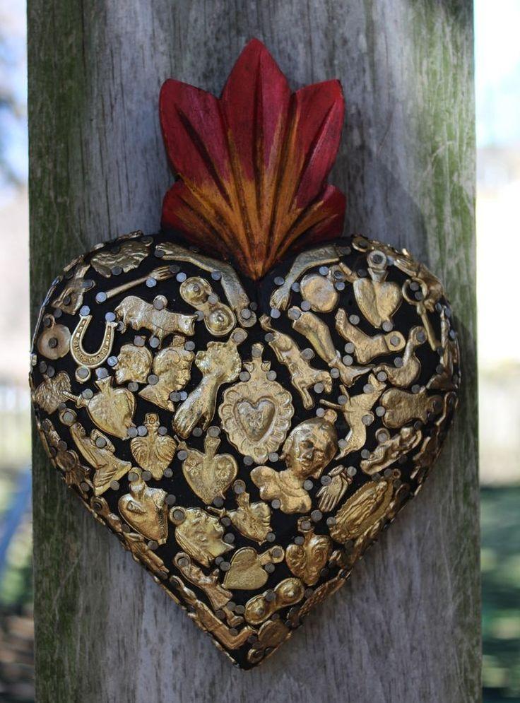 Sacred Heart Wood with Gold Color Milagros Folk Art Michoacán Mexico Love Token