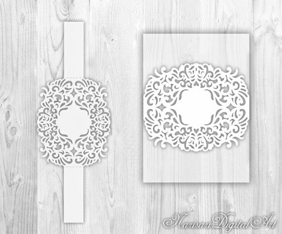 Wedding Invitation Belly band laser cut Template, Floral ...