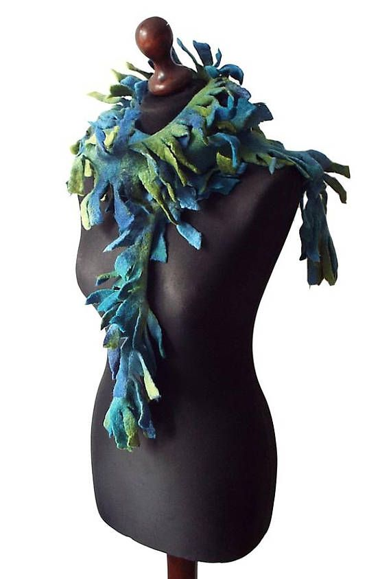 Felted Scarf Felted Boa Felt Collar Felted Necklace Art To Wear Green Blue Petrol Colorful Wool scarf Boho Womens Gift OOAK  Felted scarf / boa / necklace made from finest Australian merino wool. Colors: blue, dark blue, shades of green, petrol green, petrol blue.  Size: length: 192cm