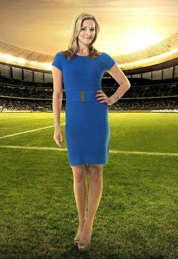 England's News Presenter Gabby Logan is Wearing a Spanish Blue Casual Belted Work Professional Dress.