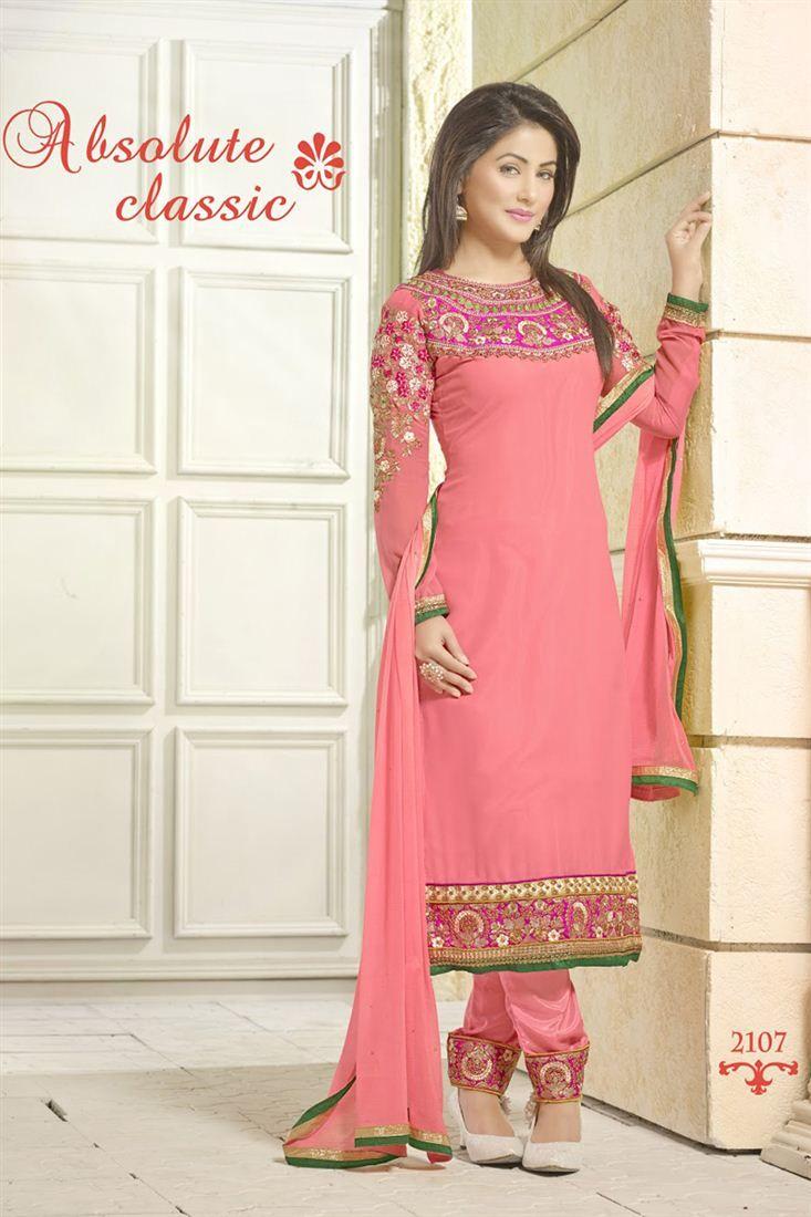 Designer salwar kameez mesmeric peach color net designer suit - Stylish Hina Khan Designer Salwar Kameez 45 Pink Colorsalwar Suitsparty