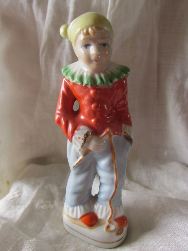 """Vintage PORCELAIN CLOWN STATUE Marked Japan Hallmarked Hand Painted Gold Leafing Trim 5"""" High Collectible Housewarming Bridal Shower Gift by MedlinAntiques on Etsy"""