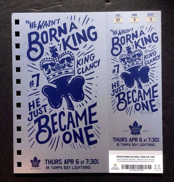 2016-17 Toronto Maple Leafs vs Tampa Bay Lightning King Clancy Featured Ticket | eBay