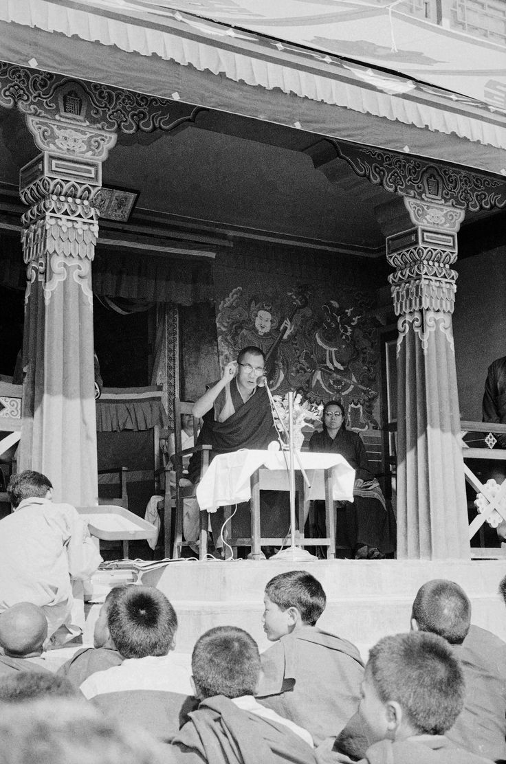 The Dalai Lama had to flee Tibet and take refuge in India after the Tibetan Uprising of 1959 against China. While in exile, he set up the Tibetan government in Dharamshala, India.   Pictured: The Dalai Lama talks to a group of young Buddhists in Mussoorie, India, on April 19, 1964