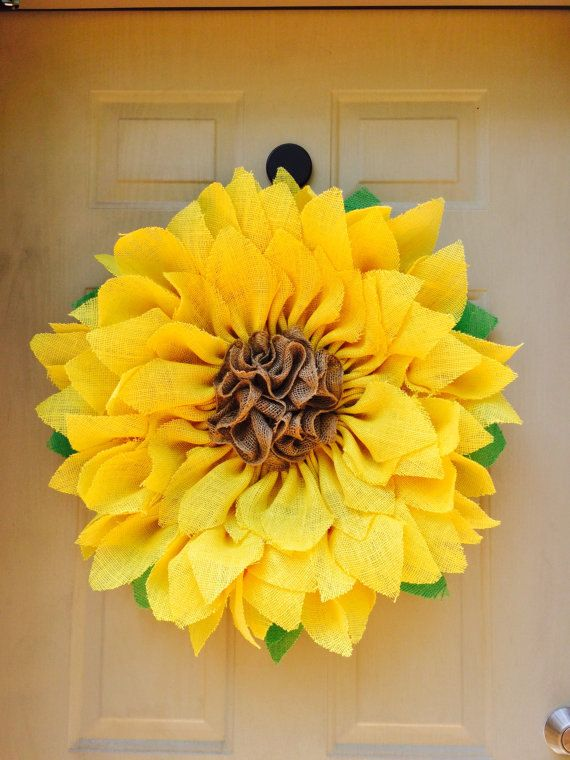 Hey, I found this really awesome Etsy listing at https://www.etsy.com/listing/235043582/yellow-burlap-sunflower-wreath