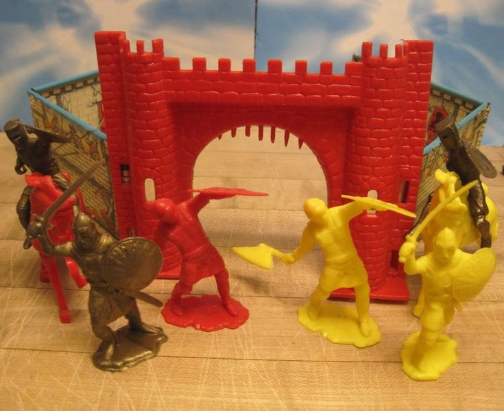 IDEAL MARX TIMPO CASTLE VINTAGE 1960s KNIGHTS HORSES 60mm PLASTIC TOY SOLDIER #IDEALTOYS